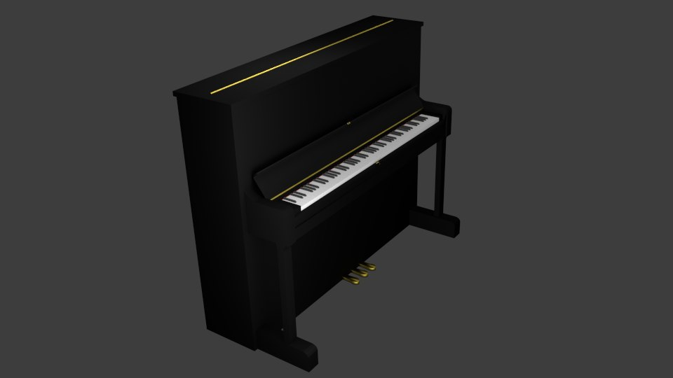 3ds max basic upright piano
