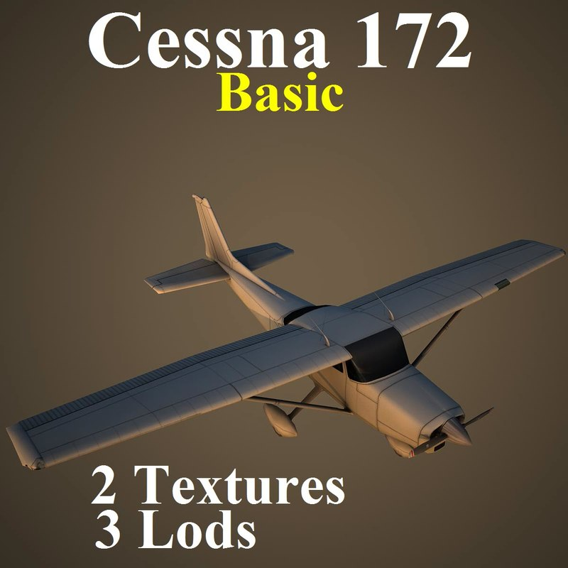 3d cessna 172 basic aircraft