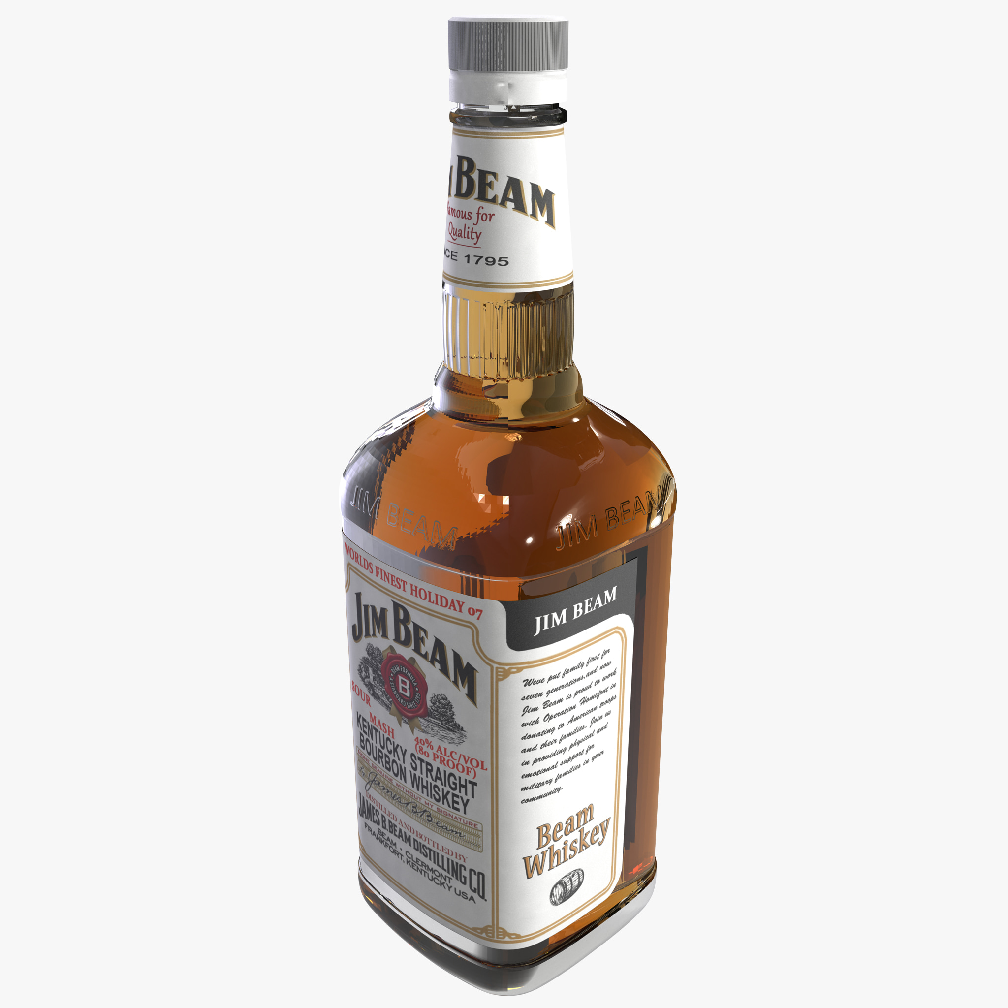 jim beam bottle bourbon 3d max