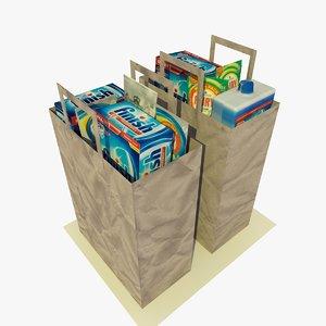 2 paper shopping bags 3d c4d