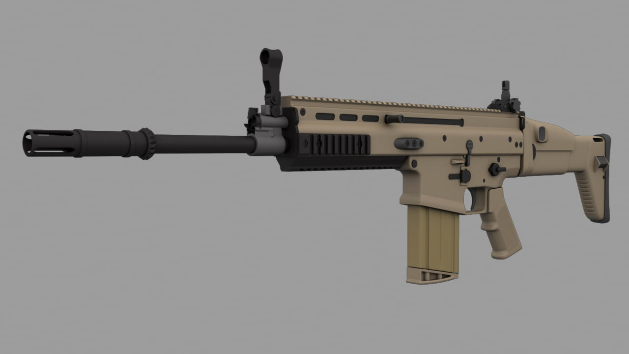 3d model of scar-h assault rifle