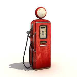 low-poly old style gas pump 3ds