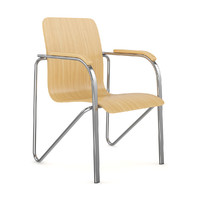 c4d chrome wood chair