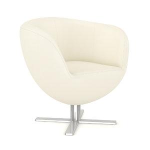 3d model white leather swivel