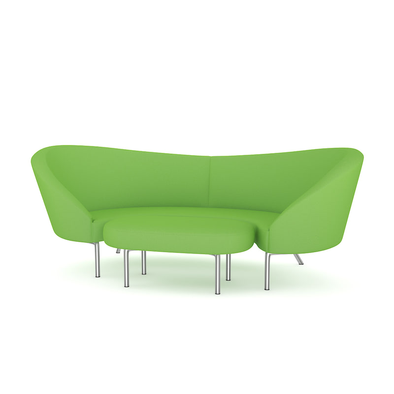 3d model green sofa footrest