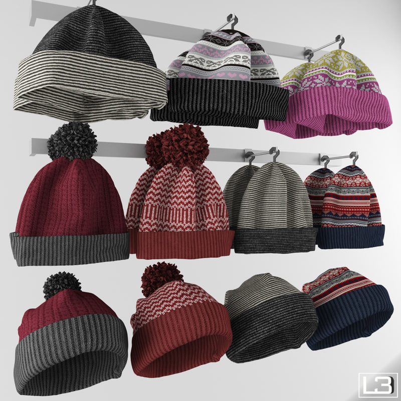 3d obj hanger knitted hats fashion