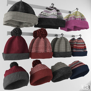 3d obj hanger knitted hats fashion