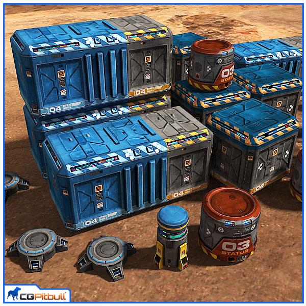 3d scifi base props pack model