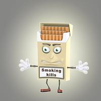 cool cartoon cigarette pack 3d model