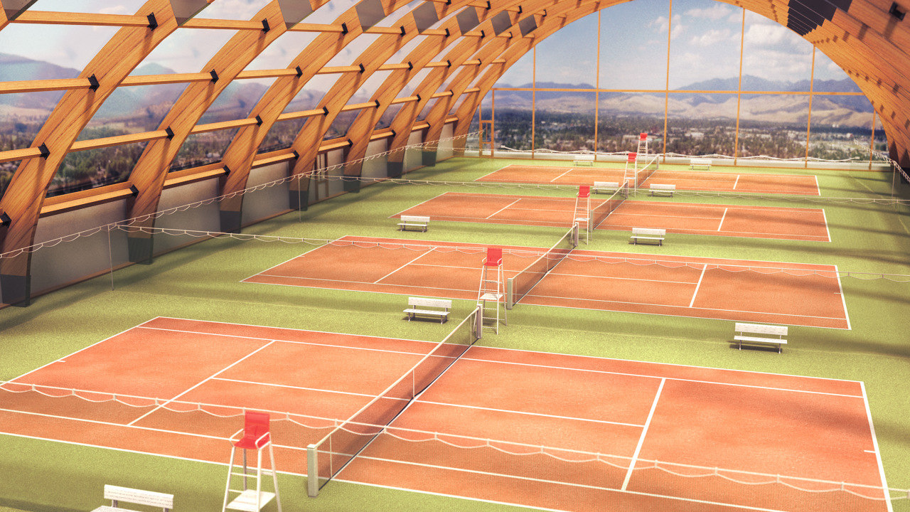 3d model of tennis hall wooden structure