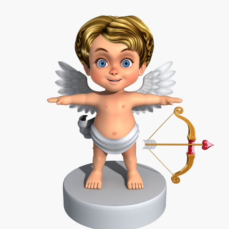 cartoon character cupid 3d model