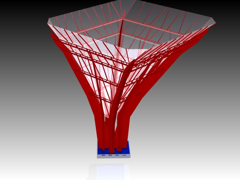 architectural design tree steel structure 3d model