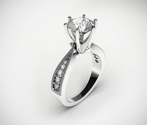 3d classic female wedding ring model