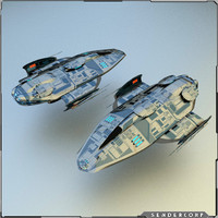 3d gunship spaceship