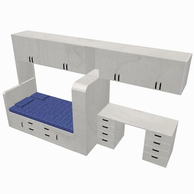 3d model of bed unit desk