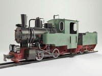 3ds max narrow steam locomotive