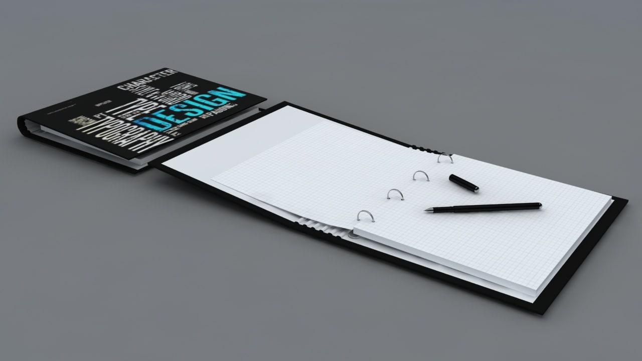 3d book notebook model