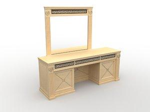 makeup table oak fashon 3d model