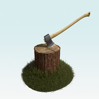 chopping block with axe and grass