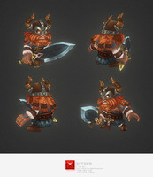 3d model hand painted viking character