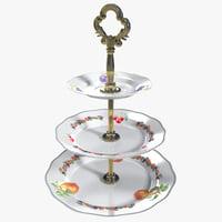 3d model 3 tier cake plate