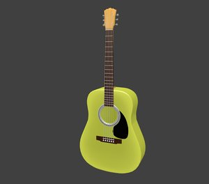 acoustic guitar - yellow 3d model