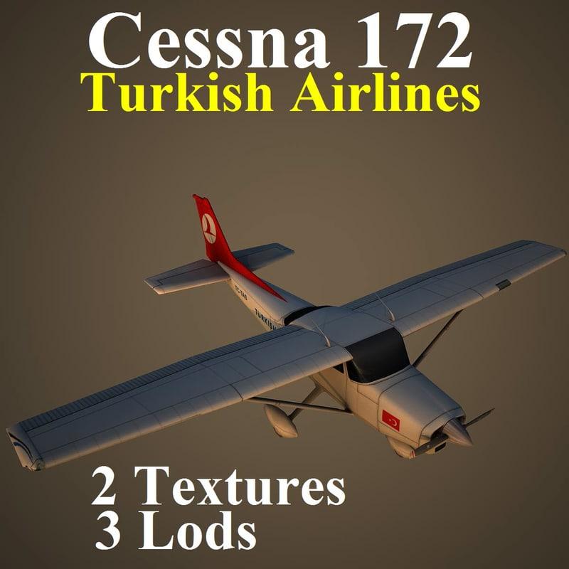 cessna 172 thy aircraft 3d model