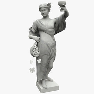 3d old woman statue grapes model