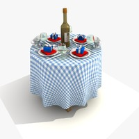 blue restaurant dining table 3d 3ds
