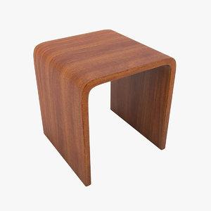 wooden stool chair 3d model