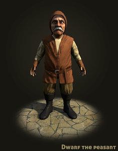 3d model dwarf peasant human character