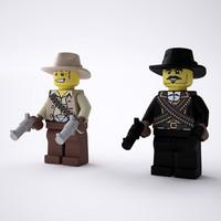 3d max rigged lego cowboy