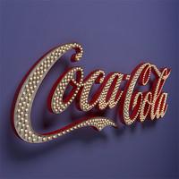 3d model coca cola vintage sign