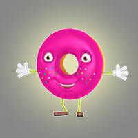 3d cartoon donut model