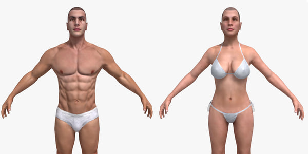 3d model rigged character male female