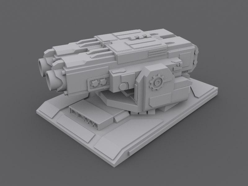 3d model turret machine gun