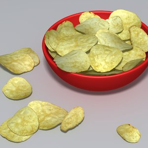 3d model potato crisps bowl