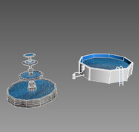 3ds max fountain pool