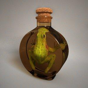 frog glass bottle 3d model