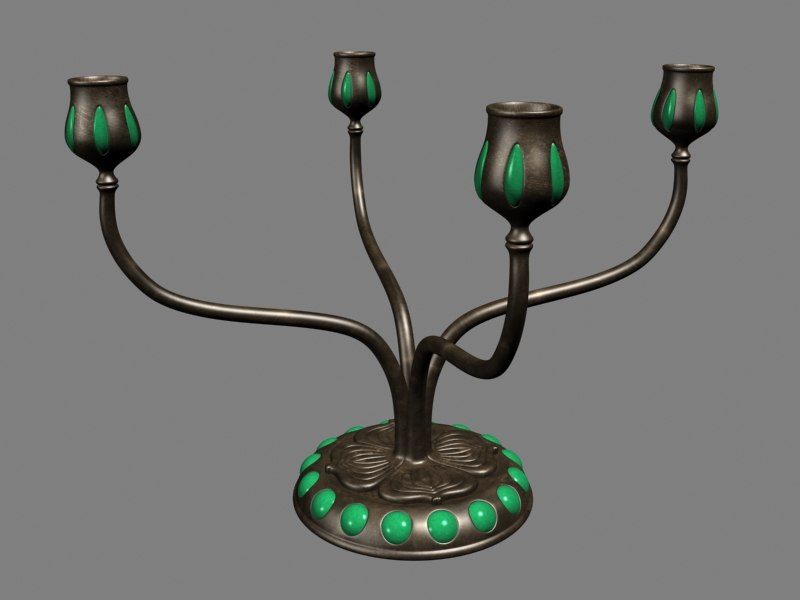 3d brass candelabra model