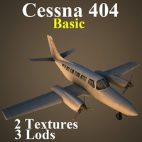 cessna 404 basic aircraft 3d model