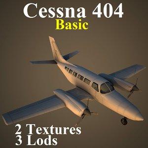 cessna 404 basic aircraft 3d model