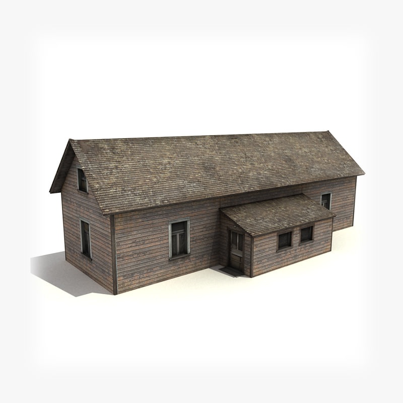 low-poly old wooden house building 3d max