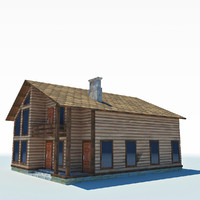 3d model low-poly cottage