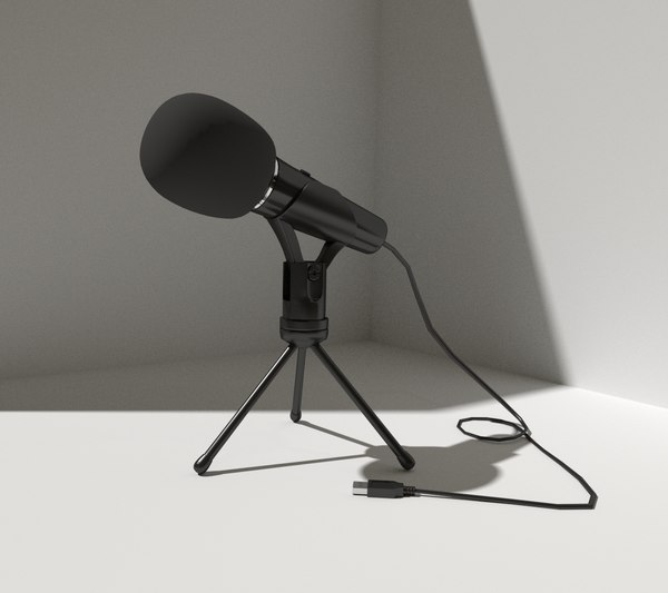 3d black microphone stand