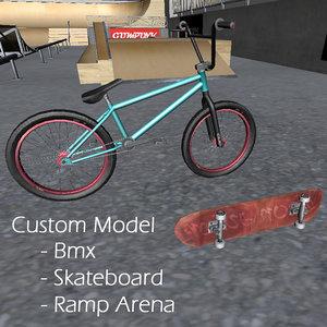 3d model extreme arena skateboard bmx