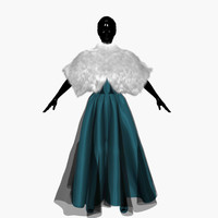 3d model dress turquoise manto