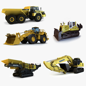 mining construction vehicles 3d obj