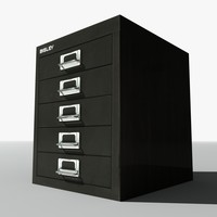 3d model of bisley small filing cabinet