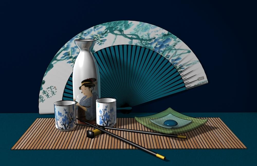 japanese tableware 3d 3ds